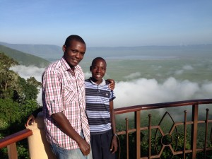 PZ Counselor Adam Musa and Mazera at Ngorongoro Crater overlook.